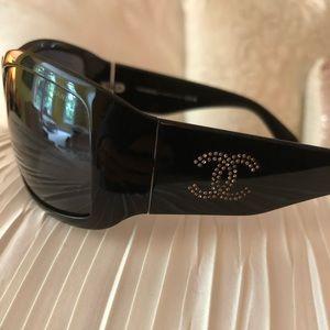 Chanel 6008B Black w/Swarovski Crystal Side Logo